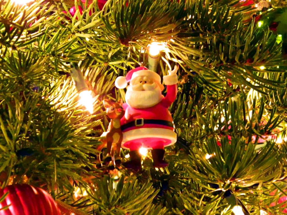 Christmas tree and santa ornament