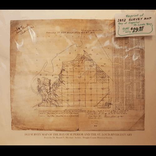 1852 Survey Map of Superior   Reprint   Douglas County Historical Society
